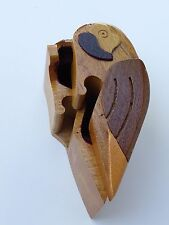 Vintage Small Hand Carved Wood Parrot Puzzle w/ Secret Compartment  Box
