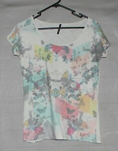Me Move Womens ivory short sleeve top floral front print SIZE S