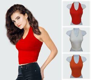 UK 8 Red Vintage style Halterneck Summer Crop Top