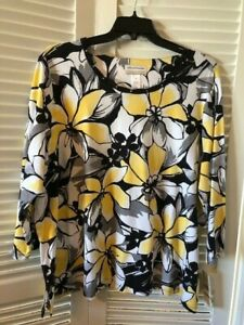 Alfred Dunner Beautiful Yellow Floral 3/4 Sleeve Round Neck Top  Size 3X  NWT