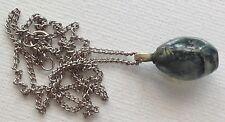 collier pendentif vintage chaine couleur argent pierre naturelle polie 540