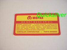 1964 1967 Dodge 361 383 440 4 bbl Do Not Wash ROUND Air Cleaner Decal NEW