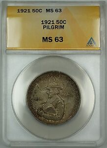 1921 Pilgrim Commemorative Silver Half Dollar 50c Coin ANACS MS-63 Toned