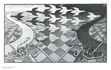 Day and Night M. C. Escher Fantasy Weird Odd B&W Art Print Poster 33.75x21.5
