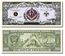 Freemason Masonic Million Dollar Bill w/ Clear Protector Factory Fresh