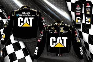 "Men's Jeff Burton Cat Nascar Jacket Black Twill Embroidered Logos ""BLOWOUT SALE"