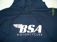 BSA Motorcycles Screen Printed Navy Hooded Sweatshirt 9.3 oz. Heavy 50/50 Blend