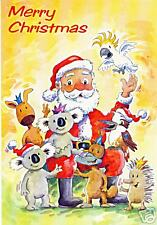 Koala with present Australien Weihnachtskarte Klappkarte Koala mit Geschenk