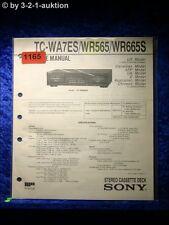 Sony Service Manual TC WR565 / WR665S / WA7ES  Cassette Deck (#1165)