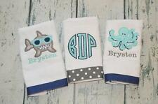 Nautical Shark & Octopus Personalized Burp Cloth set 3 Boys  Burp Cloths