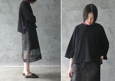 organza transparent two layers black A line mid-cal skirt retro Chinese fashion