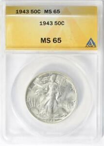 1943 Walking Liberty Half Dollar - ANACS MS-65 - Mint State 65