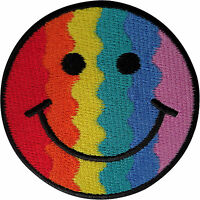 Smiley Face Patch Embroidered Badge Iron On Sew On Gay Pride Rainbow Flag Emoji