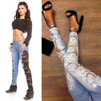 Women's Crochet Lace Hollowed-out Jeans Slim Denim Trousers Skinny Pencil Pants