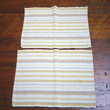 Pair of SONOMA Striped Woven Yellow White Brown 100% Cotton Kitchen PLACEMATS