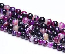 Natural Purple Striped Agate Round Gemstone Spacer Beads Craft 4/6/8/10/12mm DIY