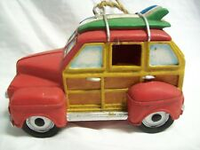 Vintage Woody Station Wagon Bird House Resin Hand Painted Red & Tan Unused