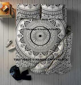 Indian Duvet Doona Cover With Mandala Bed sheet & Pillows Queen Quilt Cover Set