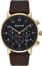 Gigandet Quarz Herren-Armbanduhr Minimalism II Dualzeit Gold Braun G21-002