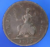 1749 George II KGII farthing quarter Penny, ¼d coin *[20146]