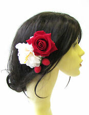 Strawberry Cream Red Rose Flower Hair Comb Vintage Rockabilly 1950s Berry 1518