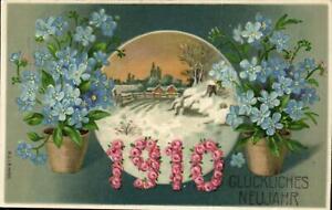 (68925) Neujahr - Prägekarte mit Jahreszahl 1910