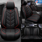 Best Auto Seat Cushions - Black+Red Auto Seat Covers Full Set PU Leather Review