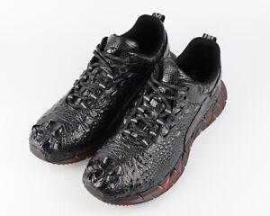 Men Shoes Genuine Crocodile Alligator Skin Leather Sneakers #SM0302