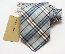 "NEW Burberry BLUE PLAIDS Mans 100% Silk Tie Authentic Italy Made 3.5"" 0350209"
