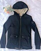 BARBOUR Sz 8 Women's Black Hooded Quilted Zip Up Fleece Lined Jacket w/Pockets