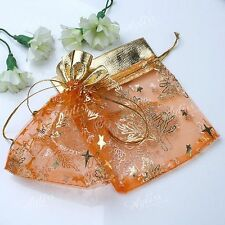 100x Orange Favour Organza Gift Bag Christmas Tree Pattern Fashion Jewelry Pouch