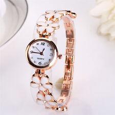 Fashion Dress Flower Band Watch Women Lady Round Quartz Analog Bracelet Watches