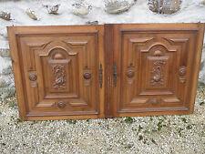 Ancienne paire de portes bois noyer placard buffet Henri 2 french antique doors