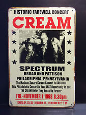 CREAM 1968 CONCERT POSTER VINTAGE RETRO STYLE SMALL METAL SIGN  20X30 CM