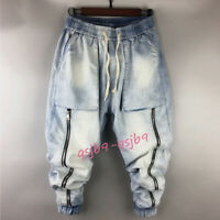 Men's Denim Gothic Zipper Baggy Jeans Harem Pants Overalls Punk Dance Trousers