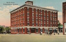 Booth Hotel in Independence KS Postcard 1920