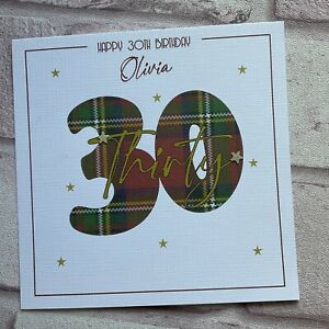 PERSONALISED Handmade BIRTHDAY CARD Scottish Tartan 40 50 60 ANY AGE