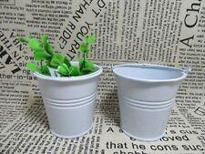 12 Mini White Metal Tin Bucket Wedding Bomboniere 70x70x52mm