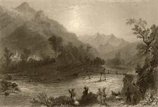 PIEDMONT/PIEMONTE. San Germano, Val Chisone. Men fishing. Goats. BARTLETT 1838