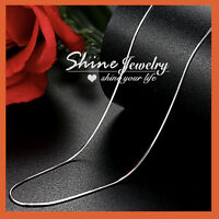 18K WHITE GOLD GF SOLID SILVER SNAKE CHAIN LONG NECKLACE for Pendant Charm 75CM