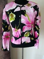 Joseph Ribkoff Floral Print Zip Front Crew Neck Cardigan Jacket Blazer Size 10