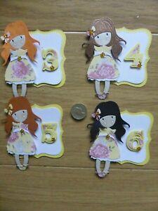 4 cute Girls 3 4 5 & 6th  Little Rose pretty  handmade Birthday Card Toppers