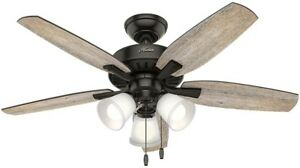 Hunter Oakfor 48 in. Ceiling Fan LED Indoor Barn Wood Noble Bronze With Light
