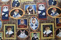 "1 Yd ""Elizakitten Era"" Elizabethan Alexander Henry Fabric Cats Dress"