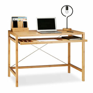 Computertisch Holz ausziehbar Tastaturablage Büroschreibtisch massiv klein eckig