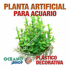 PLANTA ARTIFICIAL VERDE 14CM DIÁMETRO DECORACIÓN ACUARIO PECERA PLÁSTICO D88