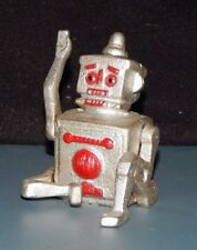 """Cast Iron Science Fiction Sci-Fi """"Robert The Robot"""" Paperweight 3 1/2"""" Silver"""