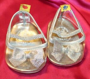 BAB Build a Bear BABW Sparkly Silver Cinderella Style Slippers Shoes EUC