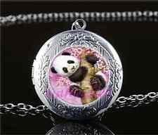 Cute Baby Panda Cabochon Glass Tibet Silver Locket Pendant Necklace