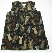 Susan Graver Womens Sz M Tunic Sleeveless Black animal print fashion theme New